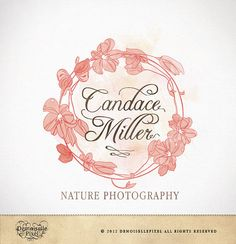 Custom premade logo watercolor flowers for by Demoisellepixel on etsy