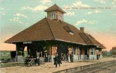 1915 FLINT, MICHIGAN Grand Railroad Depot 5892 postcard