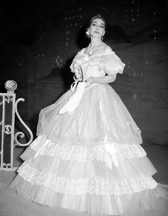 Maria Callas as Violetta Valery in the opera 'La Traviata'. Royal Opera House in 1958. This is Callas on the first night:http://www.youtube.com/watch?v=VbTWmanr6Y8