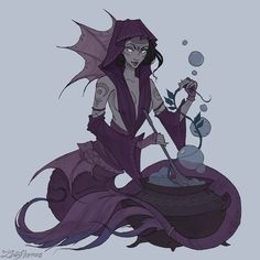 Witch Mermaid by IrenHorrors - Your Daily Dose of Amazing beautiful Creativity and Digital Art - Fantasy Characters: Archers Assassins Astronauts Boners Knights Lovers Mythology Nobles Scholars Soldiers Warriors Witches Wizards Mermaid Canvas, Mermaid Art, Sea Witch, Witch Art, Witch Characters, Fantasy Characters, Character Inspiration, Character Art, Character Design