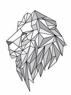 Geometric Lion — for minimalists who love animals. Geometric Drawing, Geometric Shapes, Geometric Animal, Geometric Lion Tattoo, Tattoo Abstract, Geometric Logo, Lion Origami, Animal Drawings, Art Drawings