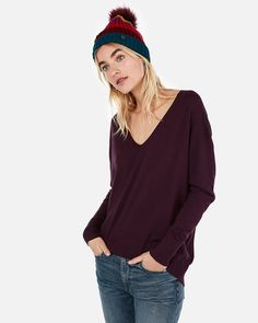 Express Solid Slouch Back Tunic Sweater 2498408f0
