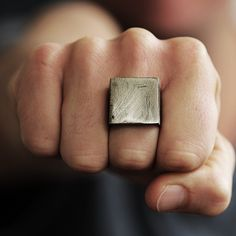 silver geometric square man ring
