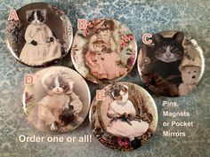 Dressed Kitten Magnets Cat Magnet Set Kittens in Lace 1 pc