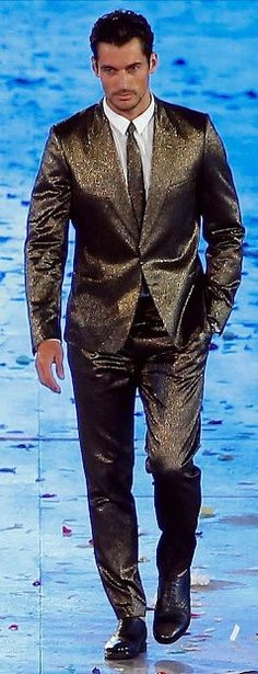 "David Gandy, all 6'3"" of him, wearing a  Paul Smith bespoke suit at London Olympics Closing Ceremonies.  He'd be dazzling with or without the sparkly suit!"