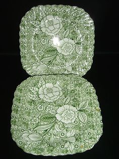 Johnson Brothers England Liberty 2 Salad Luncheon Plates Tiffany Co Ironstone Johnson Brothers China, Johnson Bros, Pantry Shelving, Vintage Dishes, Old Movies, Vintage Colors, Go Green, Shades Of Green, Bone China