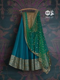 Teal blue lehenga by Swati Manish Half Saree Lehenga, Lehnga Dress, Indian Lehenga, Bridal Lehenga Choli, Sarees, Blue Lehenga, Lehenga Gown, Anarkali Suits, Kids Lehenga