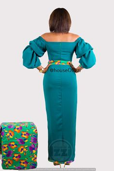 Mintflower floor length dress with ankara belt and taping