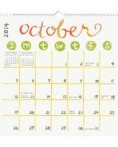 2014 Paper Source Academic Watercolor Art Calendar