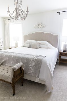 How to Style A Bed | So Much Better With Age Furniture Repair, Paint Furniture, French Country Cottage, French Farmhouse, Solid Wood Dresser, Pink Dresser, Guest Bedrooms, Master Bedroom, Antique Armoire