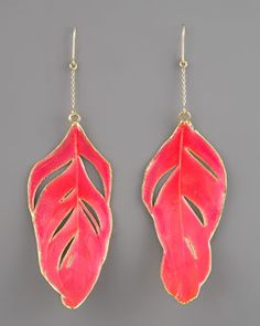 Coral feather earrings -so pretty!