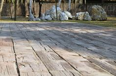Taras, betonowe drewno. Beton patio