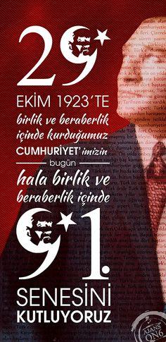 29 ekim 1923'de birlik ve beraberlik içinde kurduğumuz Cumhuriyet'imiz bugün 91. yaşını kutluyoruz... #CumhuriyetBayramı kutlu olsun.