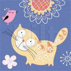 Картина Для Детской Кот С Птичкой