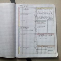 Updated my weekly spread because I've noticed I somehow like columns of info a little more than blocks. So left side is the days and right is tasks. Built in a $2 composition notebook with grid paper from office depot #plannernerds #plannerlove  #bulletjournal