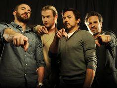 Avengers: The Core Four -- Chris Evans (Captain America), Chris Hemsworth (Thor), Robert Downey Jr. (Iron Man), Mark Ruffalo (Hulk).