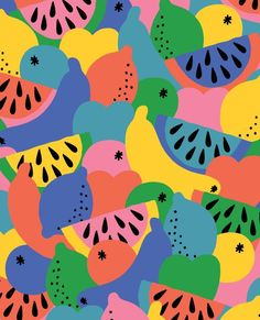 New Fruit Pattern Design Texture 25 Ideas Food Patterns, Textile Patterns, Textile Prints, Textile Design, Print Patterns, Abstract Shapes, Abstract Pattern, Blue Abstract, Surface Design