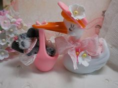 ooak miniature baby elephant and stork by LittleBearPaws on Etsy