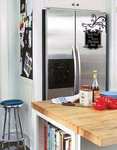 chalkboard vinyl on your fridge! Awesome idea!! #chalkboardvinyl