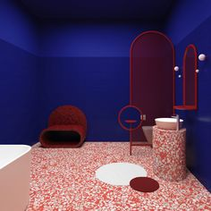 Beautiful Bathroom Sinks – Colorful Countertop and Terrazzo Ideas to Try in 2019 Terrazzo, Two Tone Walls, Best Bathroom Colors, Yves Klein Blue, Tiny Powder Rooms, Farmhouse Vanity, Wood Source, Simple Shapes, Vintage Table