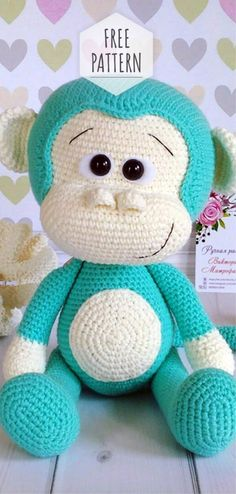 Mesmerizing Crochet an Amigurumi Rabbit Ideas. Lovely Crochet an Amigurumi Rabbit Ideas. Crochet Monkey Pattern, Crochet Amigurumi Free Patterns, Crochet Teddy, Crochet Animal Patterns, Stuffed Animal Patterns, Cute Crochet, Crochet Baby, Baby Knitting Patterns, Crochet Animals