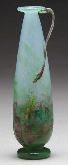 Daum Frères, Nancy, Applied and Wheel Carved Glass Vase.