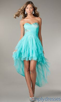 Ruffled High Low Strapless Sweetheart Dress at SimplyDresses.com