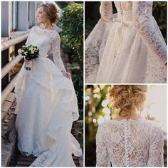 PO16-0 2015 Latest Design Modest Wedding Dresses With Long Sleeves Lace Appliques Princess A Line Covered Button Plus Size Bridal Gown Cheap, $341.22 | DHgate.com