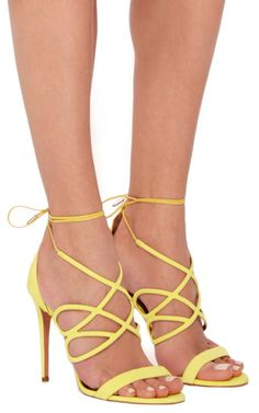 6e93c0c48ac Gigi Yellow Suede Heeled Sandals