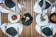 """A bite by the breeze…at the A-list's favourite shelter from the sun. Just a facet of the precious gem called """"Kenshō Psarou flavours"""" – unearth and explore Mykonos Beach Hotel, Mykonos Hotels, Beach Hotels, Restaurant Bar, Breeze, Shelter, Gem, Table Settings"""