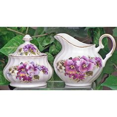 Cream and Sugar 103434: Pansy Fine Bone China - Sugar And Creamer Set - Covered Sugar Bowl -> BUY IT NOW ONLY: $48.89 on eBay!