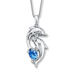 Topaz Dolphin Necklace  Diamond Accents Sterling Silver