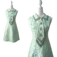 Vintage 1960s Blue, Gold & Silver Beaded Brocade Mod Dress from Some Like it Vintage at RubyLane.com