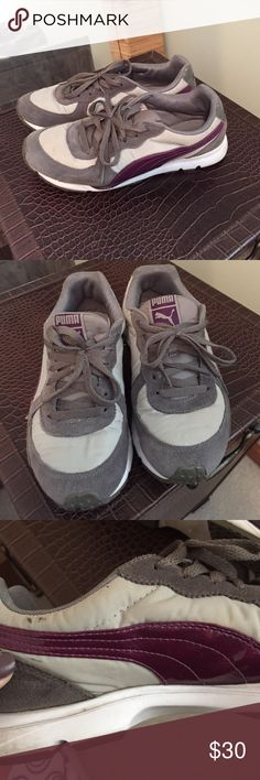EUC Gray and Purple Puma Sneakers. Size 8 EUC Gray puma sneakers with purple detail. Size 8. Very minimal signs of wear, see 3rd photo.  Light gray nylon, dark gray suede, purple side embellishment.  I got new everyday sneakers and these have a lot of life left in them but are being neglected in my closet! Puma Shoes Athletic Shoes