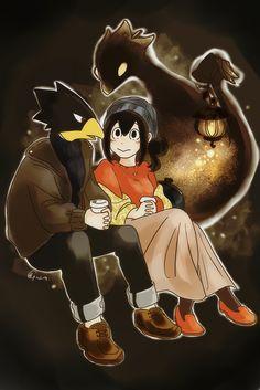 Boku no Hero Academia || Fumikage Tokoyami, Tsuyu Asui.