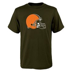 NFL Cleveland Browns Boys 820 Primary Logo Short Sleeve Tee Brown Medium *** You can get additional details at the image link.