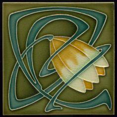 Details of a Art Nouveau / Arts & Crafts floral tile ref 21 from our range of Floral/Flowers/Foliage Mantels/Surrounds in the Art Nouveau style Motifs Art Nouveau, Azulejos Art Nouveau, Art Nouveau Tiles, Art Nouveau Design, Victorian Tiles, Vintage Tile, Arts And Crafts Movement, Decorative Tile, Tile Art
