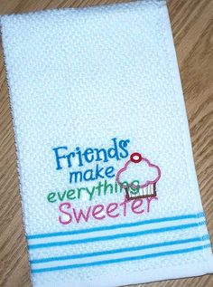 Kitchen Embroidered Dish Hand Towel / Friends by TexasMade4You