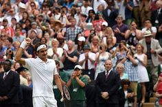 Roger Federer celebrates following his Quarter-final victory