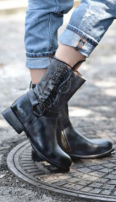 Black leather ankle boot by BEDSTU. Pair with cuffed denim to show off side tie feature.