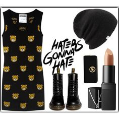 Haters gonna hate by strawberries-m on Polyvore featuring moda, Moschino, Dr. Martens, MICHAEL Michael Kors, Coal and NARS Cosmetics