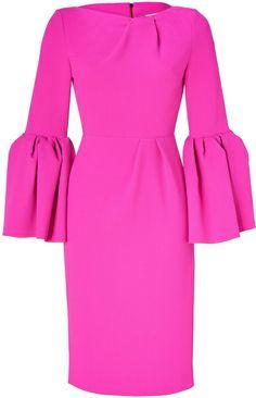 Roksanda Ilincic Pink Hot Pink Crepe Wool Dress with Large Bell Cuffs
