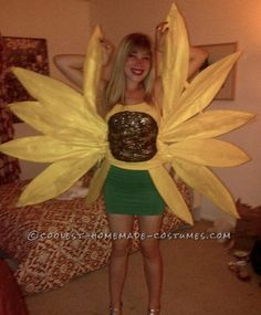 Cool Sunflower Surprise Costume for a Woman... This website is the Pinterest of costumes