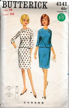 Vintage Plus Size Sewing Pattern Butterick 4141 Top and Skirt Size 40 Bust… Robes Vintage, Vintage Dresses, Vintage Outfits, Over 60 Fashion, Retro Fashion, Vintage Fashion, Plus Size Sewing Patterns, Clothing Patterns, Shirt Patterns