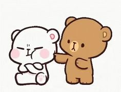 LINE Official Stickers - Milk & Mocha: Unstoppable Lovers Example with GIF Animation Cute Love Pictures, Cute Love Gif, Cute Cat Gif, Cute Love Couple, Cute Couple Cartoon, Cute Cartoon Pictures, Cute Bear Drawings, Kawaii Drawings, Funny Videos