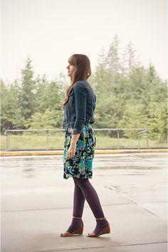 Purple Tights, Purple Dress, Girl Closet, Floral Denim, H&m Jackets, Fashion Looks, Style Fashion, Work Wear, What To Wear