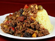 Picadillo is a dish which mainly consists of ground beef, but can be mixed with various vegetables, or used as filling for tacos. The dish is most common in Puerto Rico, Cuba, Costa Rica and Mexico. The word picadillo comes from the Spanish word picar, meaning to mince or chop. The Cuban version usually is served with beans and rice, while in the Philippines, potatoes accompany the picadillo.