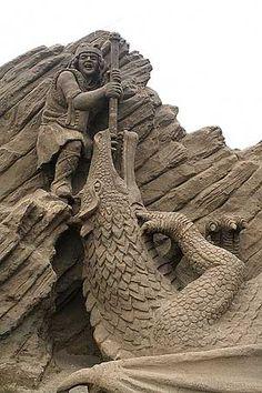 St. George slaying the sand dragon ... sand art