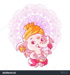 Little Cute Ganesha. Cartoon Character. Vector Cartoon Illustration On A White Background. - 407796019 : Shutterstock