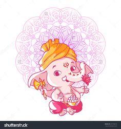 Little Cute Ganesha Cartoon Character Vector Cartoon inside Incredible Cartoon Ganesha Wallpapers - All Cartoon Wallpapers Lord Ganesha, Arte Ganesha, Baby Ganesha, Ganesha Drawing, Mandala Drawing, Mandala Art, Lord Shiva Painting, Ganesha Painting, Hare Krishna